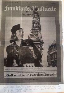 """Ingeborg Schöner als """"Schaffnerin"""" auf dem Titelbild der Frankfurter Illustrierten 1951"""