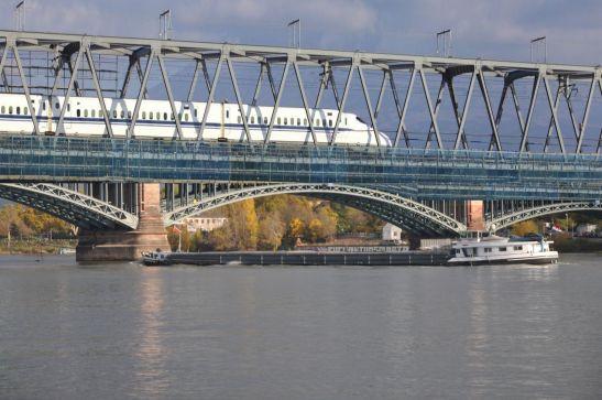 Gibt es bald einen Hochgeschwindigkeitszug über den Rhein zwischen Mainz und Wiesbaden? Fotomontage: MEIN WIESBADEN