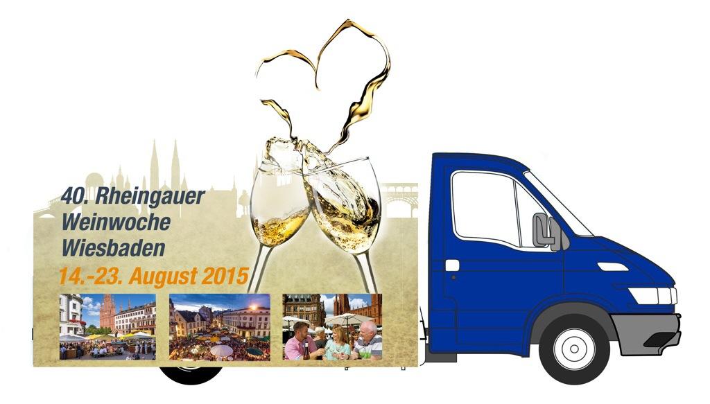 """Der Motivwagen """"40 Jahre Rheingauer Weinwoche"""" ist im Original am 7. Juni in Hofgeismar zu sehen. Grafik: Wiesbaden Marketing"""