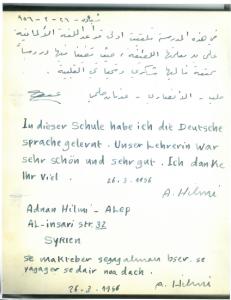 """Schöne Erinnerung: Dankschreiben eines VHS-""""Schülers"""" aus dem Jahr 1956. Foto: VHS Wiesbaden"""