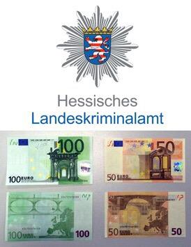 Beispiele Falschgeld 50EUR 100EUR Foto: Hessisches Landeskriminalamt