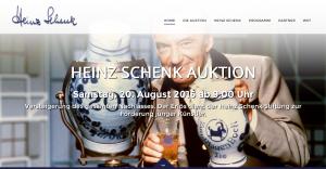 """Screenshot der Auktionsseite heinz-schenk-auktion.de. Die Auktion wird von einem Auktionator aus Albstadt durchgeführt. Unter den Hammer kommen auch Auszeichnungen und Preise, Autogramme und einige Bembel aus """"Zum Blauen Bock"""""""